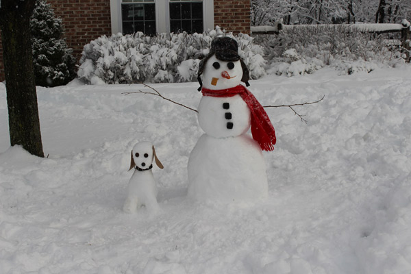 "<div class=""meta ""><span class=""caption-text "">Viewer Photo from February 3rd snowstorm: Snowman's best friend... - Lori Wilkinson</span></div>"