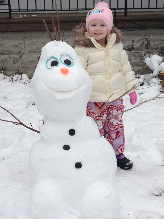 Viewer Photo from February 3rd snowstorm: Lexi Wilson & Olaf in Westmont, NJ