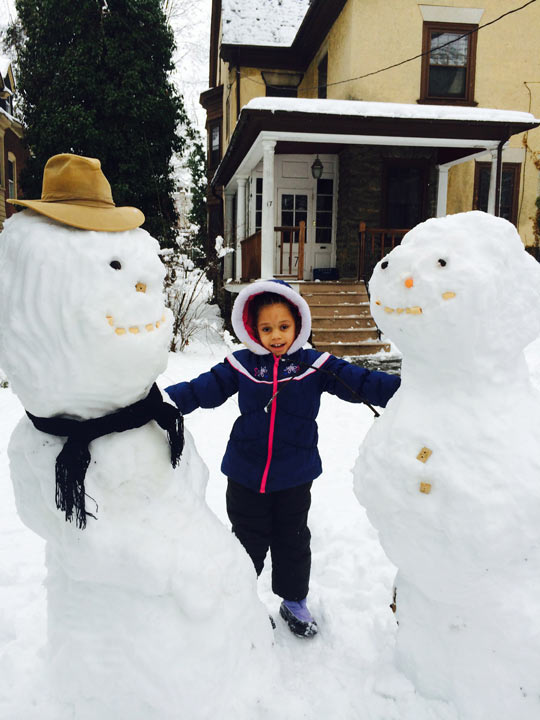 Viewer Photo from February 3rd snowstorm:  Snow Ogres from West Mt Airy
