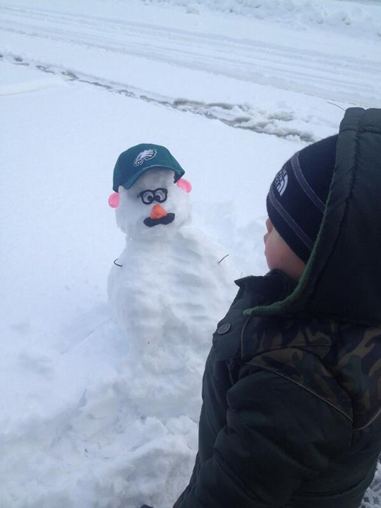 Viewer Photo from February 3rd snowstorm:  My son's 1st snowman is Andy Reid! - Jamie Apody