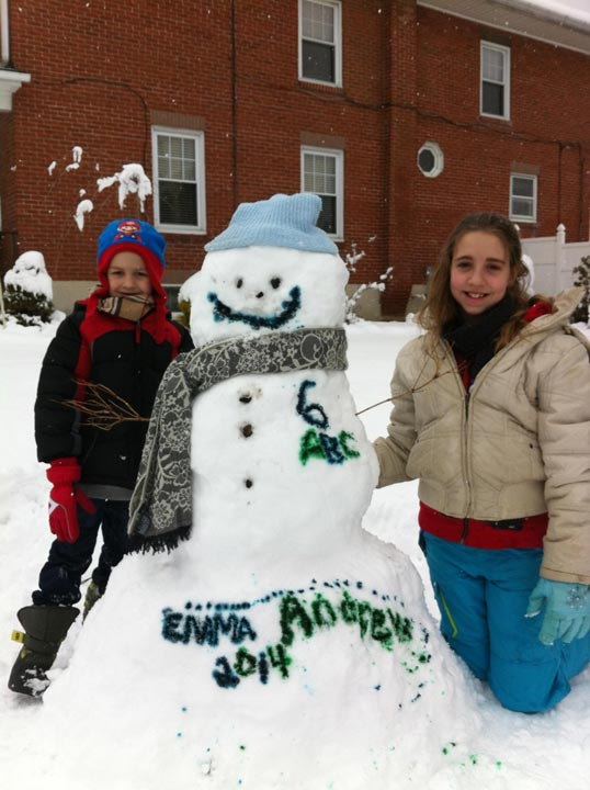 Viewer Photo from February 3rd snowstorm:  Andrew (who's 7 today) and Emma enjoying their snow day with 6abc!!
