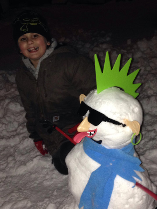 Viewer Photo from February 3rd snowstorm: Vincent's punk rocker snowman