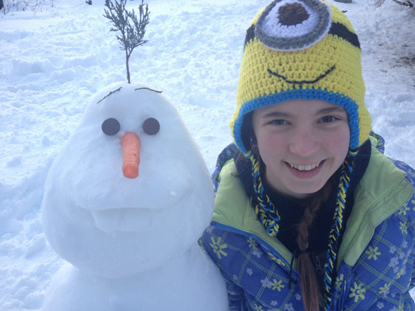 Viewer Photo from February 3rd snowstorm: My daughter Lyndi built her snowman to look like Olaf (from the movie Frozen) in Sumneytown - Tammy Styer