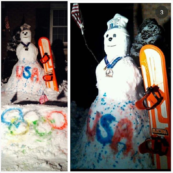 "<div class=""meta ""><span class=""caption-text "">Viewer Photo from February 3rd snowstorm: My sister and I created this snowboarding snowman to prepare for the Olympics..he is already wearing his gold medal..USA ! - Bridget Rowland</span></div>"