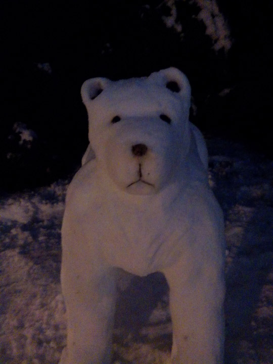 Viewer Photo from February 3rd snowstorm: Polar snow bear by Martha and Mike