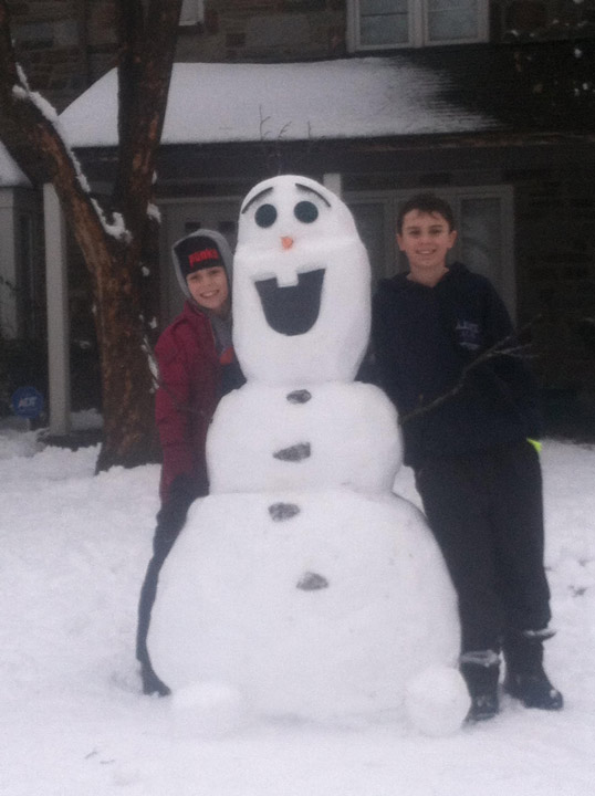 Viewer Photo from February 3rd snowstorm: Austin,Ally and Olaf all agree that winter is a great and fun time!