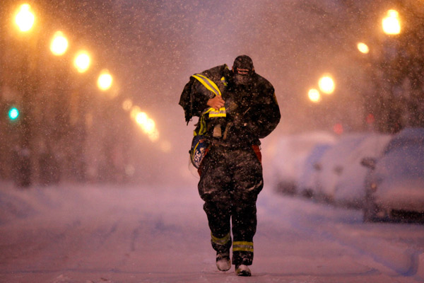TOP 5 SNOWIEST WINTERS IN PHILADELPHIA     #1: 2009-2010; 78.7 inches    A Philadelphia firefighter who declined to be identified walks to a subway stop to go to work during a winter snow storm in Philadelphia, early in the morning, Saturday, Feb. 6, 2010. (AP Photo/Matt Rourke)