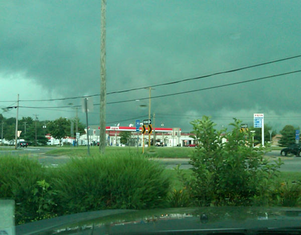 Picture of dark skies from Tuesday afternoon as storms moved through.