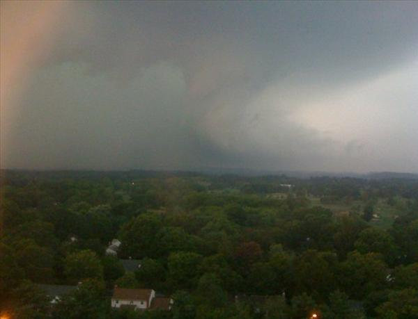 "Submitted through sendit.6abc.com.  Caption: ""We watched from the 12th floor of my place of employment as the storm grew right outside of our window.  We watched as it sucked in from the ground up and built with cloud to grown lightning.  It was heading East towards the city of Wilmington where heavy damage is reported."""