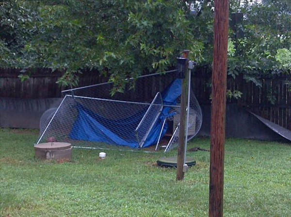 Submitted through sendit.6abc.com.  Caption: This is a pic of my dogs pen after the storm this afternoon in Avondale, Pa.  We are only 2 miles from Wilmington, Del.