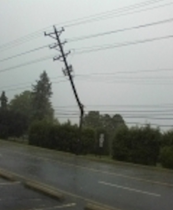 The power lines and poles on Lancster Pike in Wilmington, Delaware