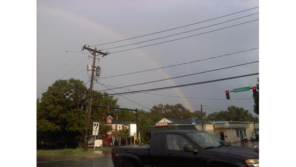 A rainbow is shown in Elsmere, Delaware following the storm on August 9, 2011.