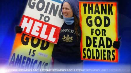 Shirley Phelps Roper - of Westboro Baptist Church - protests at a funeral