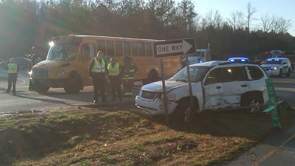 School bus collides with SUV