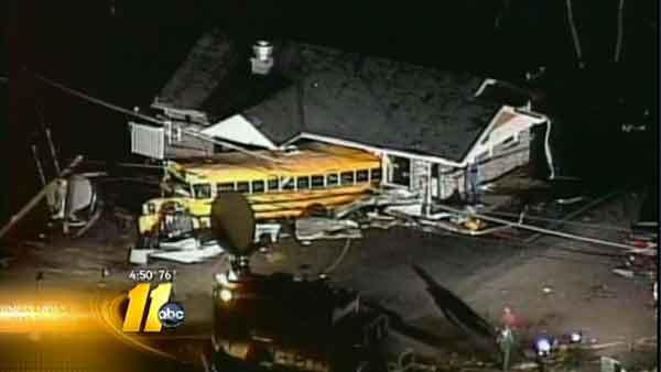Indiana school bus hit by tornado