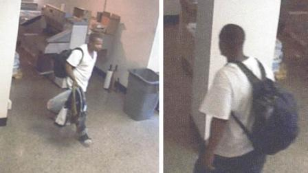 Two surveillance pictures of a man suspected in thefts at the N.C. Department of Agriculture and Consumer Services