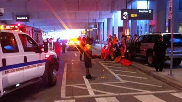 Three pedestrians struck by car at RDU