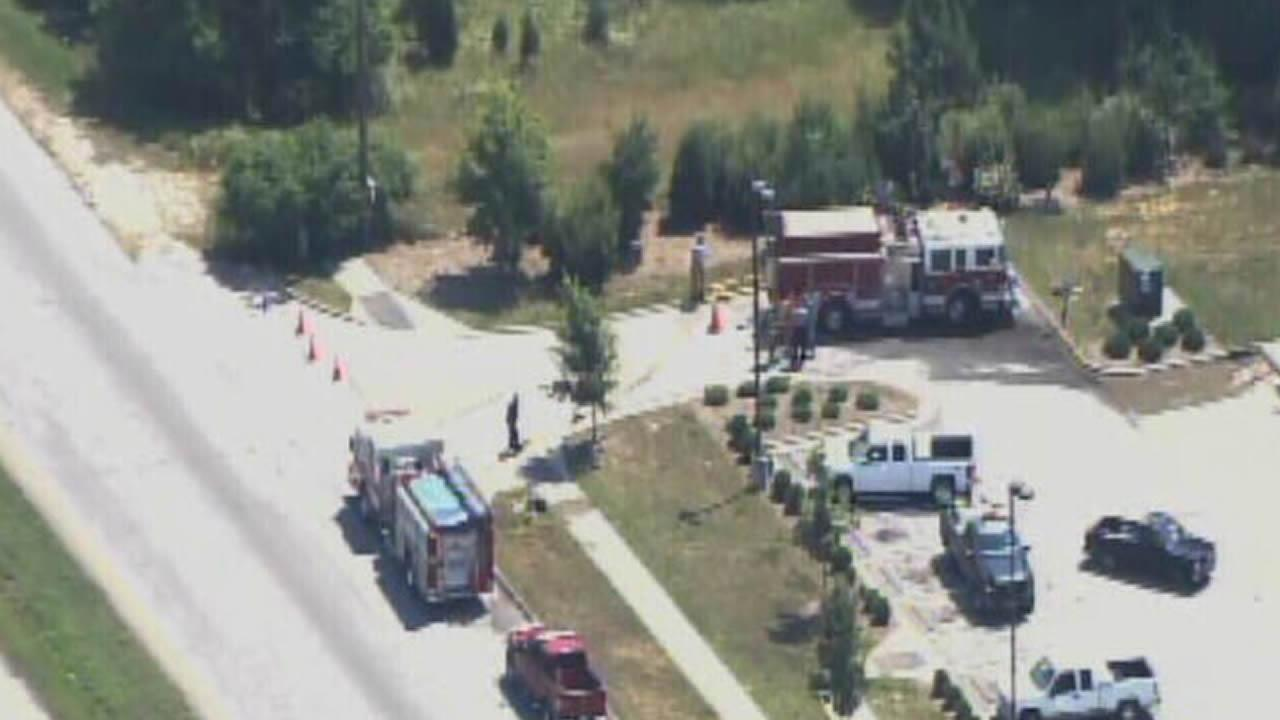 Fire trucks on the scene of a small explosion in southern Wake County.