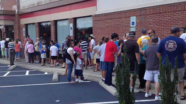 Some of the large crowd at Chick-fil-A in Southern Pines at lunch Wednesday