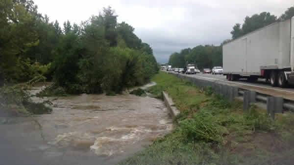 Flooding along I-95, just south of Roanoke Rapids