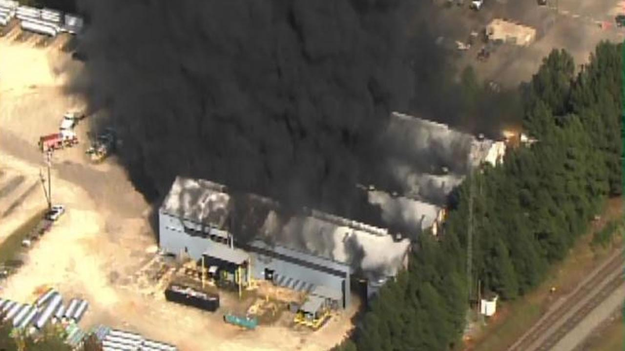Large fire at Raleigh construction firm