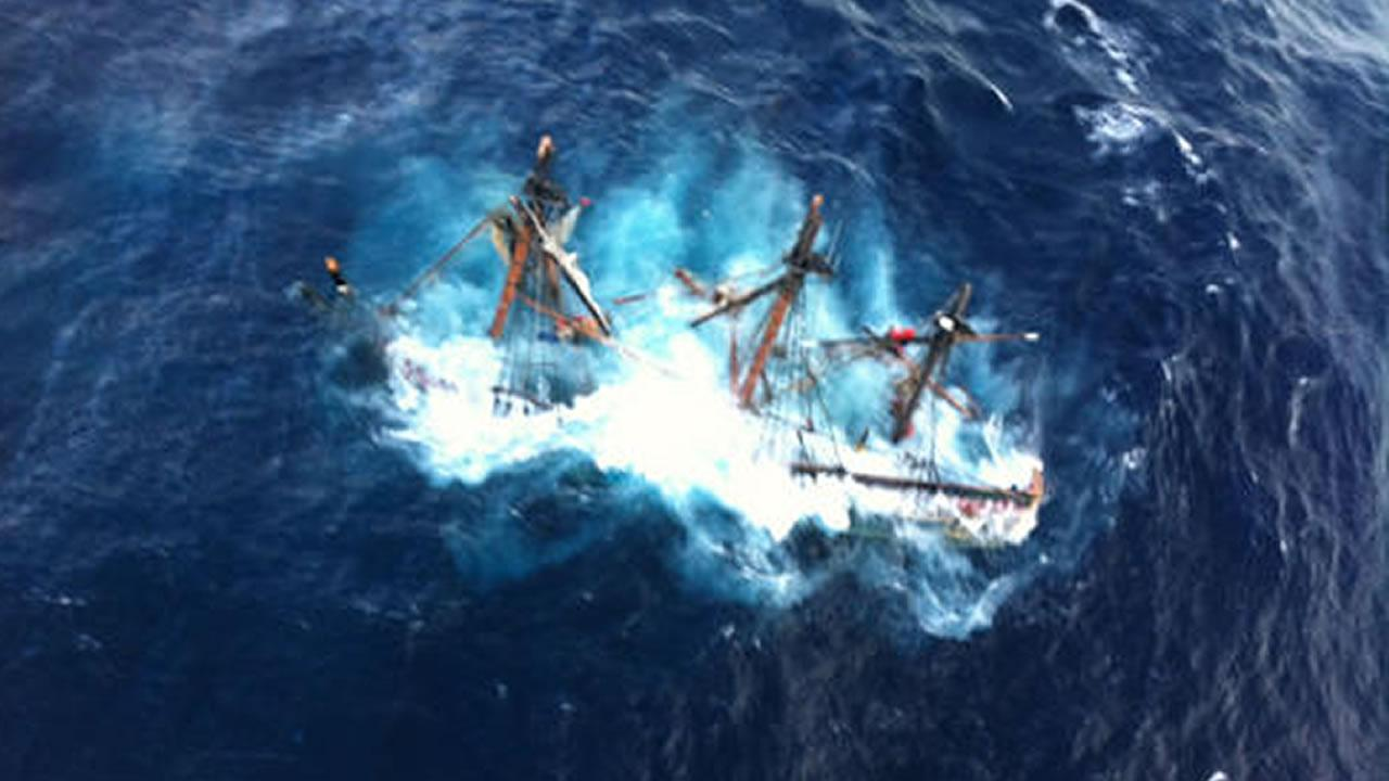 The HMS Bounty, a 180-foot sailboat, is shown submerged in the Atlantic Ocean during Hurricane Sandy approximately 90 miles southeast of Hatteras, N.C., Monday, Oct. 29, 2012.  (U.S. Coast Guard photo by Petty Officer 2nd Class Tim Kuklewski)
