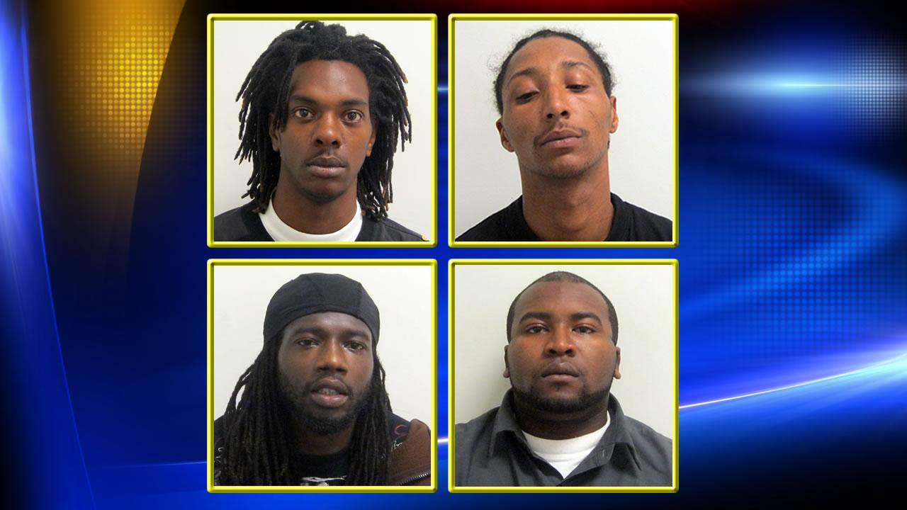 Left to right, top to bottom: William Deshawn Wilson, 21, of South Adkin Street; Joseph Michael Wilson, 27, of South Adkin Street; Elwood Donell Gray, 32, of South Adkin Street; and Justin Wilson, 23,  of North Orion Street.