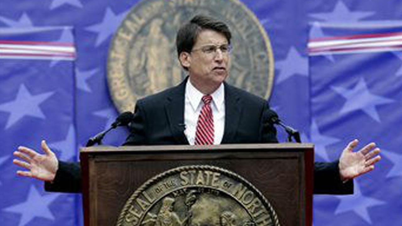 North Carolina Gov. Pat McCrory delivers his inaugural address after taking the oath of office during ceremonies at the state Capitol in Raleigh, N.C., Saturday, Jan. 12, 2013. (AP Photo/ Gerry Broome)