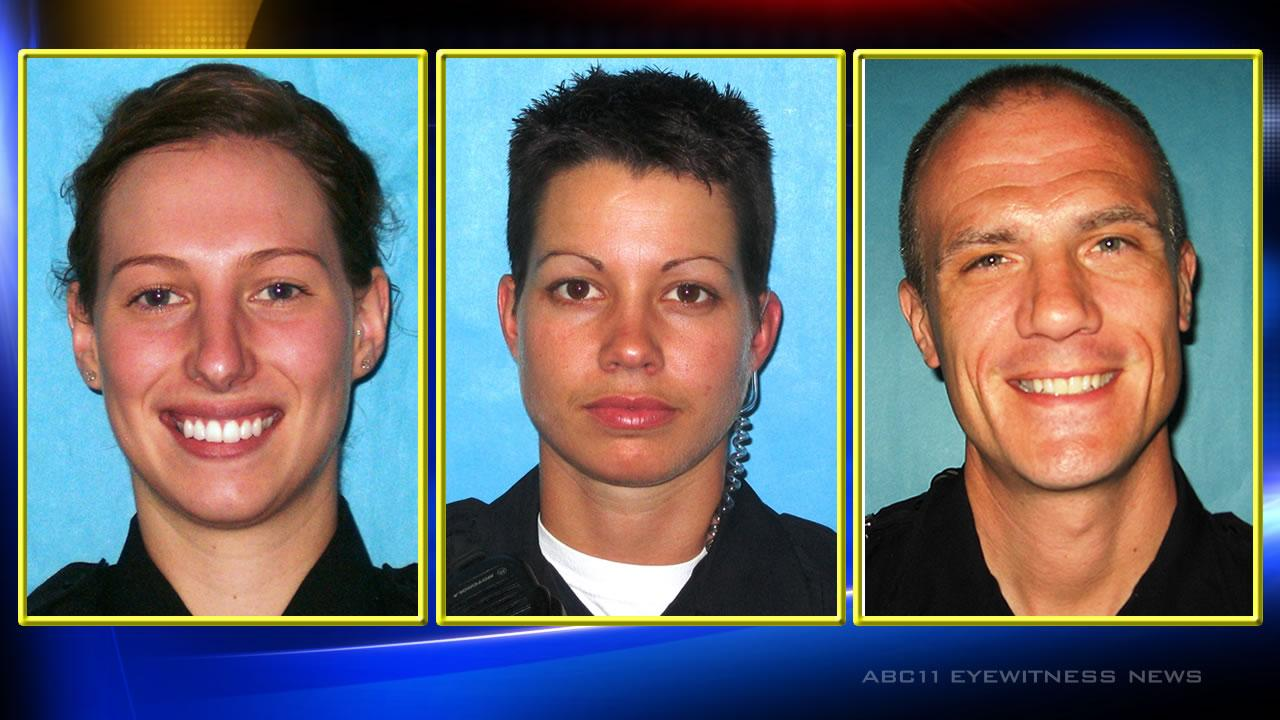 Durham Officer Stacy L. Armstrong, Officer Erin V. Espinola and Police Lt. Ryan A. Freeman