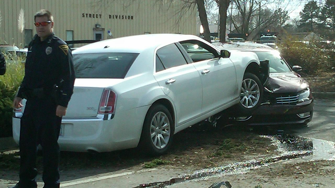 A crash in the parking lot of the City of Fayetteville Engineering and Infrastructure department. <span class=meta>(Lou Guilette)</span>