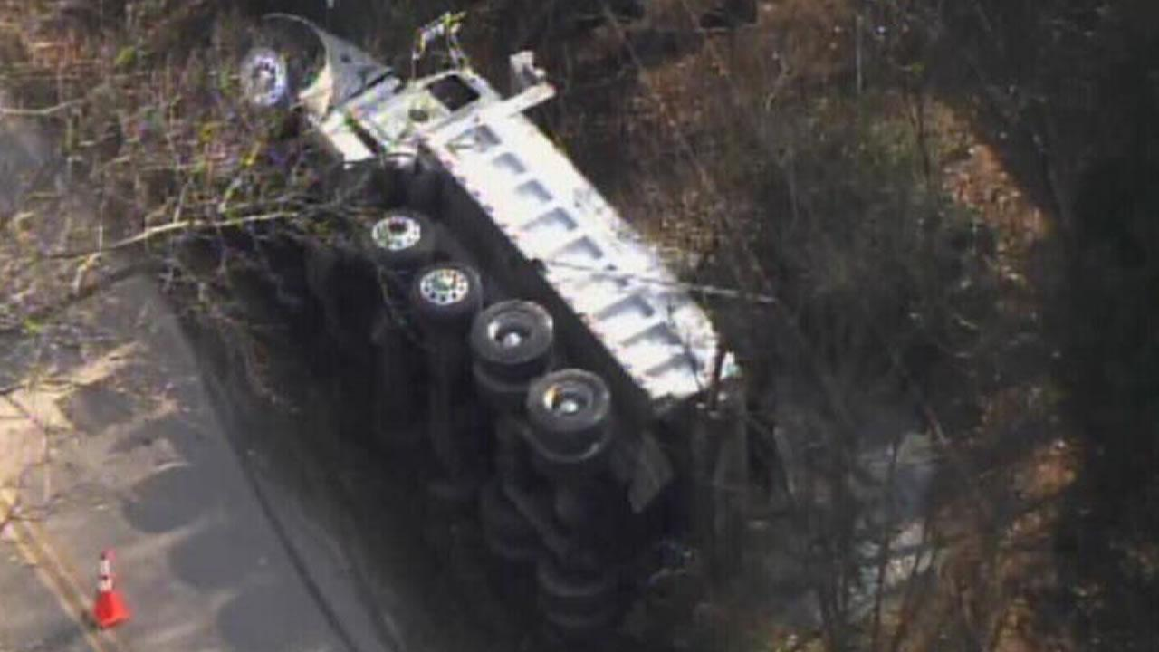 A dump truck crash at Cass Holt Road and Buckhorn Duncan Road near Holly Springs.