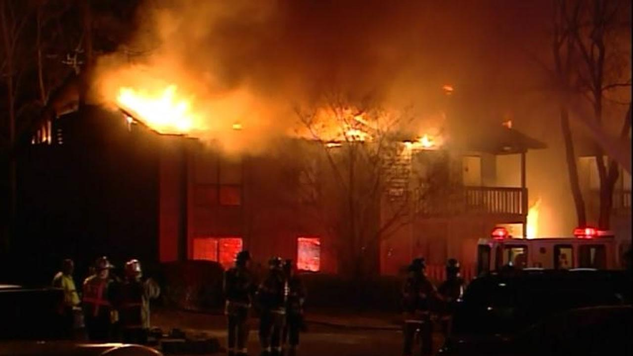 Flames sweep through Fayetteville condos