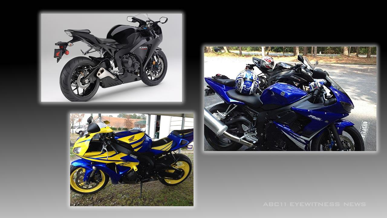 A 2012 Honda CBR 1000RR, 2006 Honda CBR 1000, and 2008 Yamaha Yzf R6s all stolen in Clayton.