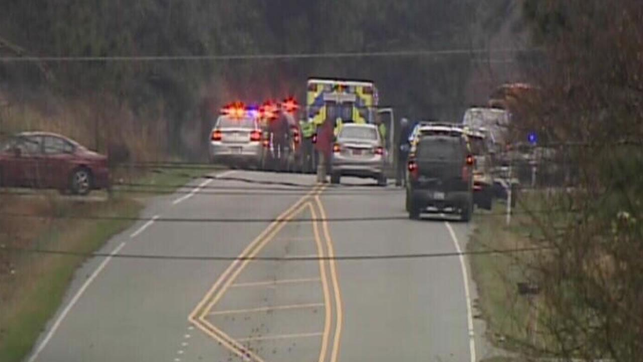 Emergency responders at the scene of an accident in Wake County.
