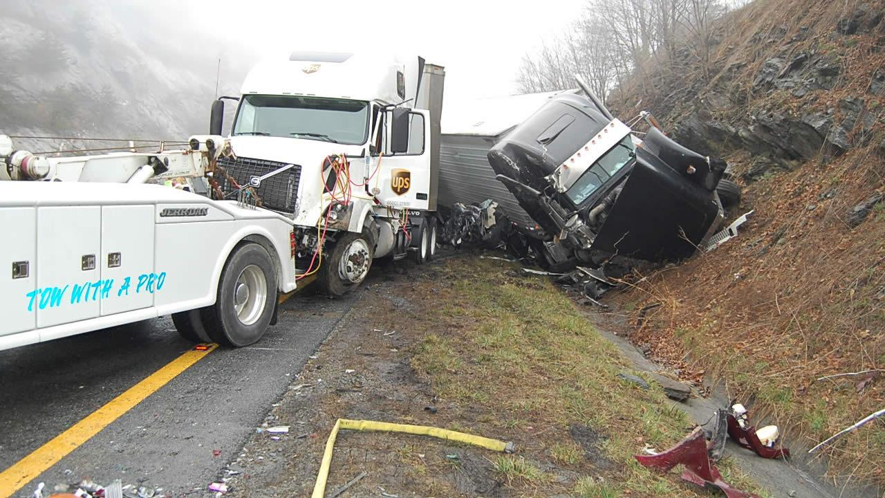 This photo provided by the Virginia State Police shows the scene following a 75-vehicle pileup on Interstate 77 near the Virginia-North Carolina border in Galax, Va., on Sunday, March 31, 2013. (AP Photo/Virginia State Police, Sgt. Mike Conroy)