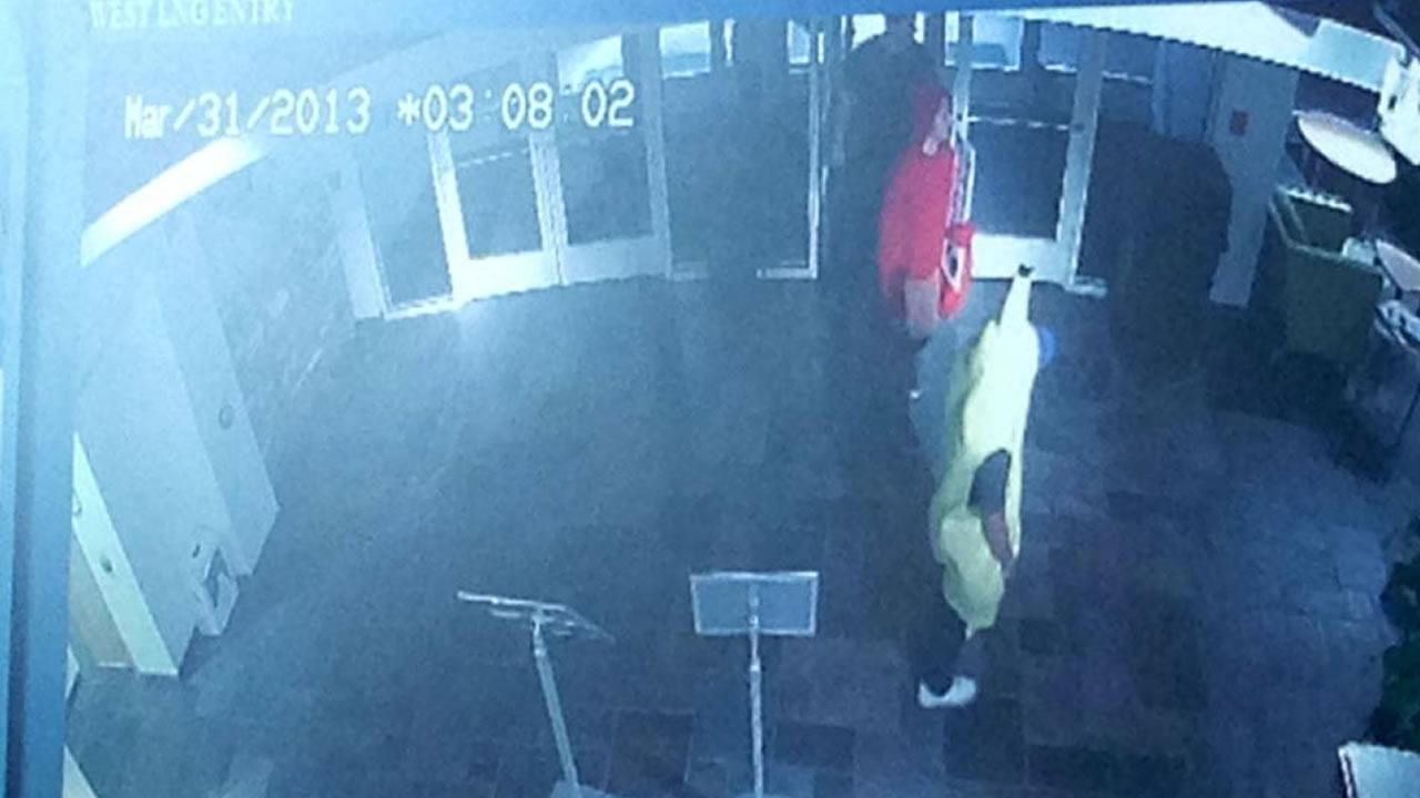 UNC police say people dressed in lobster and banana costumes may be behind a theft at the the Student Union building.Image courtesy UNC Department of Public Safety