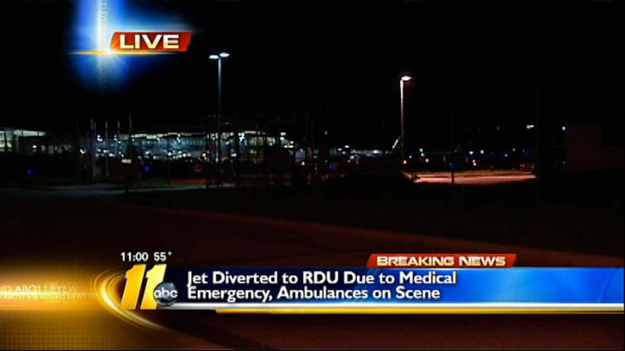 Plane diverts to RDU due to sick passenger