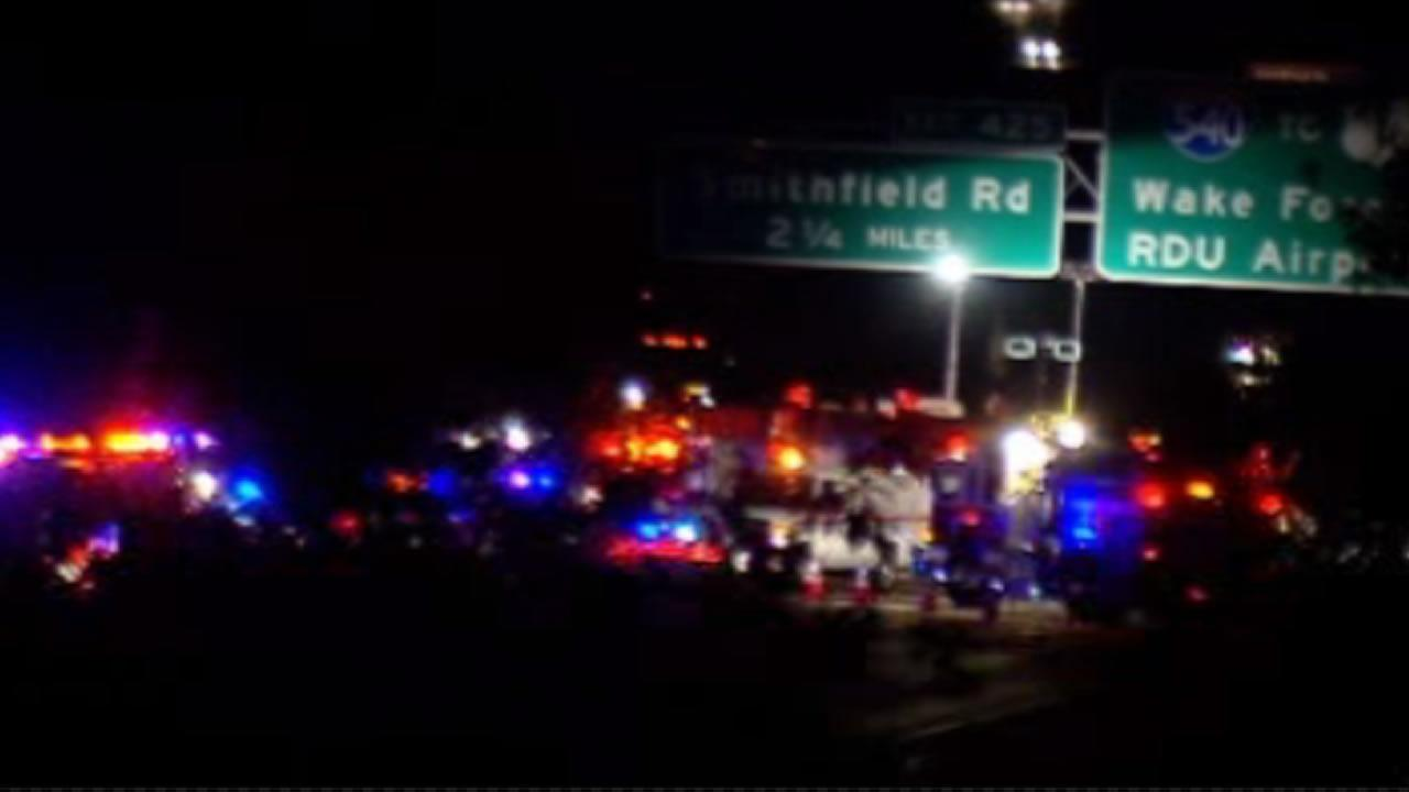 Emergency vehicles on the scene of a crash near Knightdale.