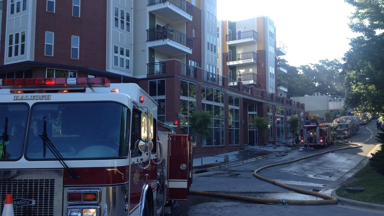 Firefighters battled a fire in a new 6-story apartment building in the 900-block of Tryon Hill Drive