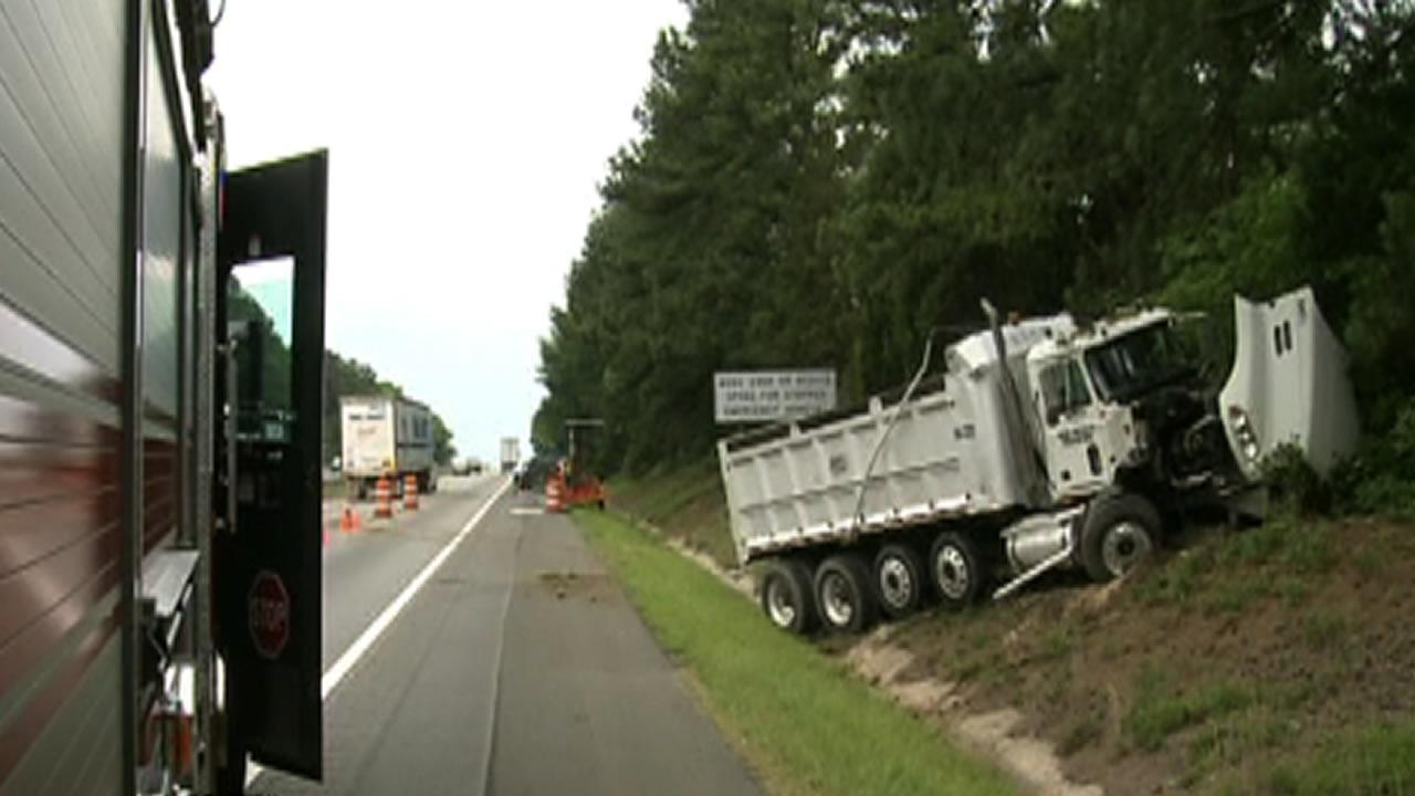 Dump truck accident along I-85