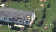 Some of the damage seen from Chopper 11 after the storm.
