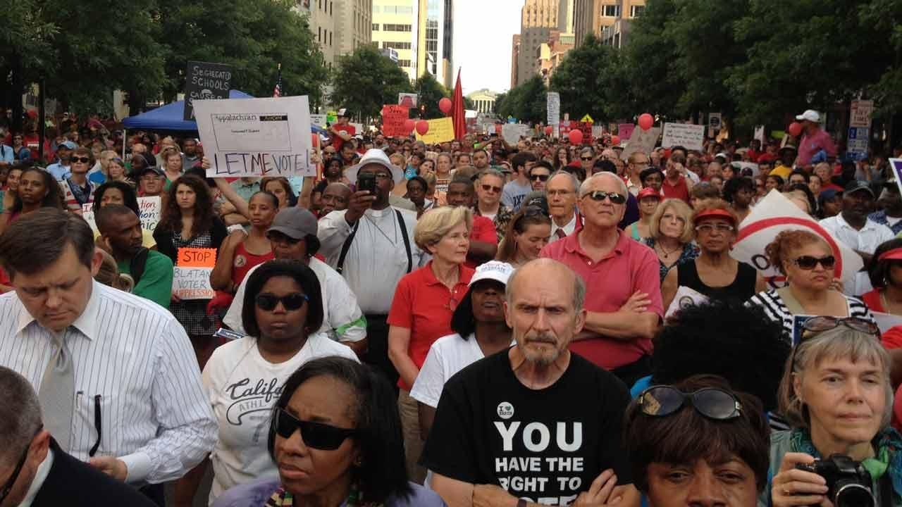 A Moral Monday protest in Raleigh in late July.