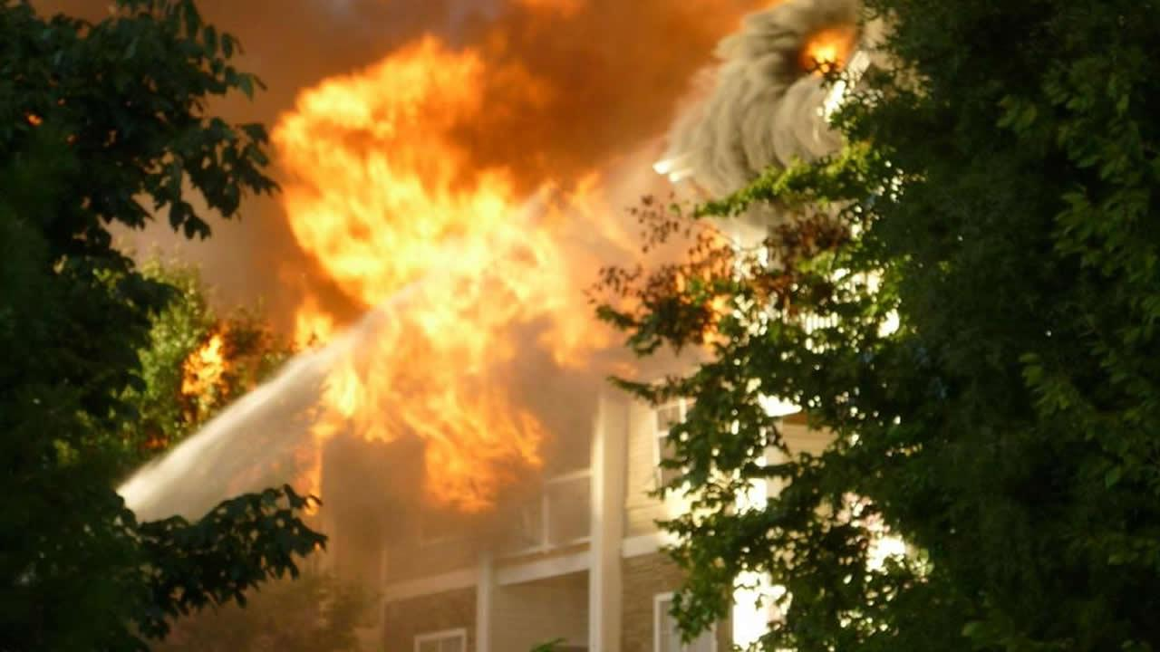 Huge flames erupt from a Raleigh apartment fire.