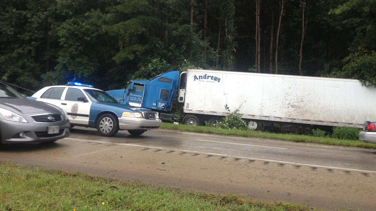 An accident involving a tractor-trailer truck snarled traffic on I-40 west Monday morning.