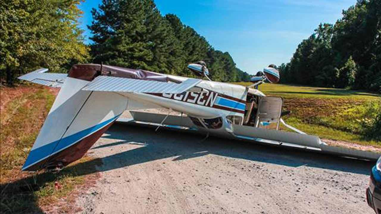 A plane ended up on its roof at an airstrip in Apex.