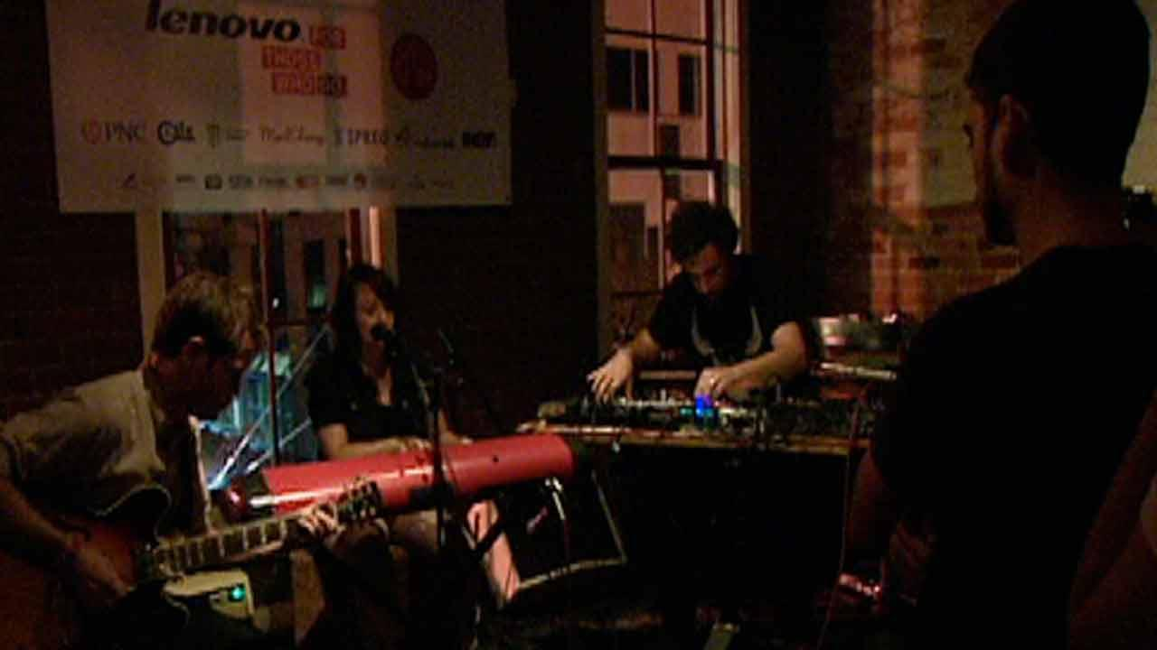 A band performing at the Hopscotch Music Festival in Raleigh.