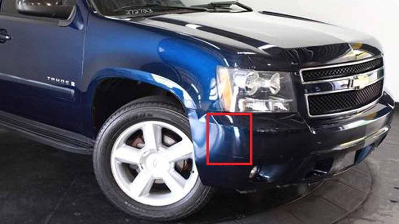 This photo shows the original location of the piece of bumper found at the hit-and-run scene on a similar vehicle.