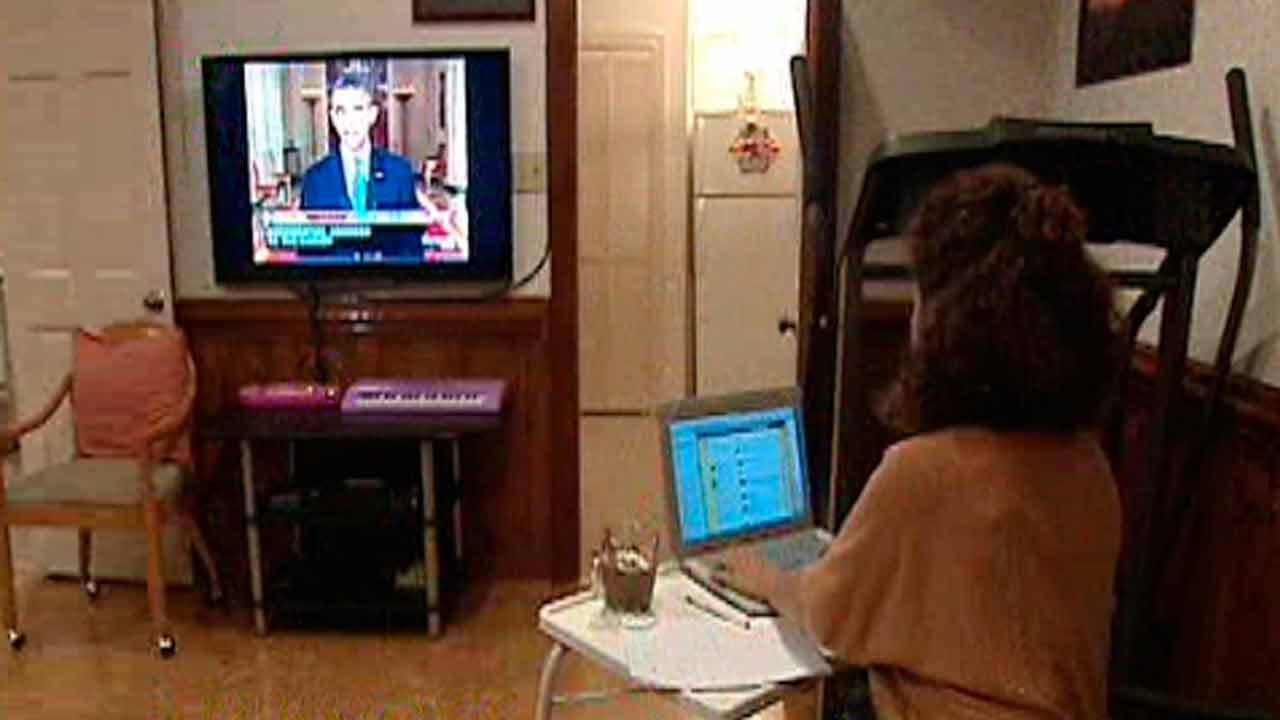 Rania Masri watching President Obamas speech on Syria.