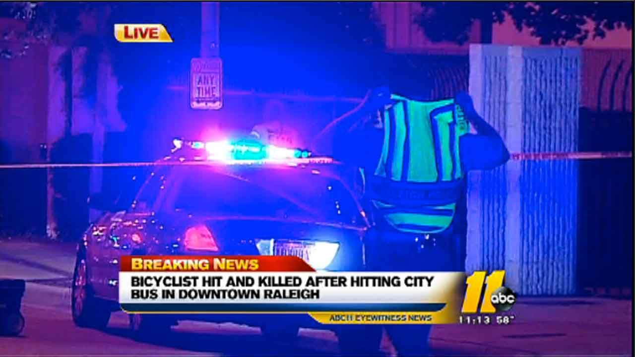 Raleigh police are investigating an apparent fatal crash between a bicyclist and a city bus.