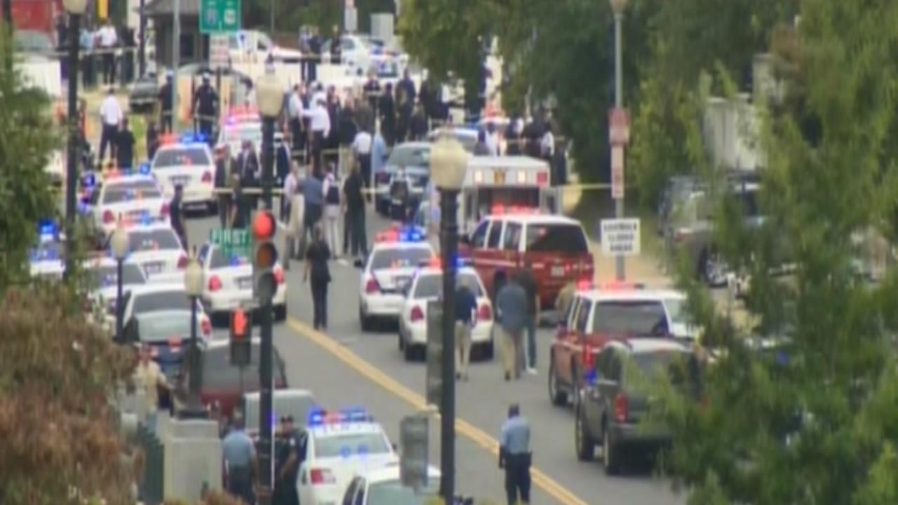 Law enforcement officers swarm the Capitol in Washington, D.C.